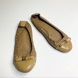 Tory burch nude patent romy ballet flats